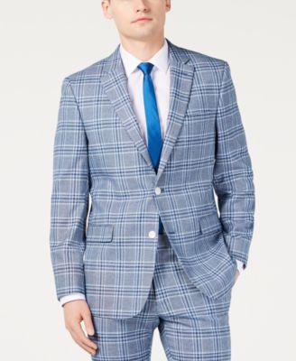 Men's Modern-Fit Light Blue Bold Plaid Suit Jacket