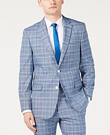 Men's Modern-Fit Light Blue Bold Plaid Suit Jacket