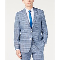 Tommy Hilfiger Men's Modern-Fit Light Blue Bold Plaid Suit Jacket