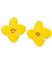 Gold-Tone Painted Metal Flower Stud Earrings