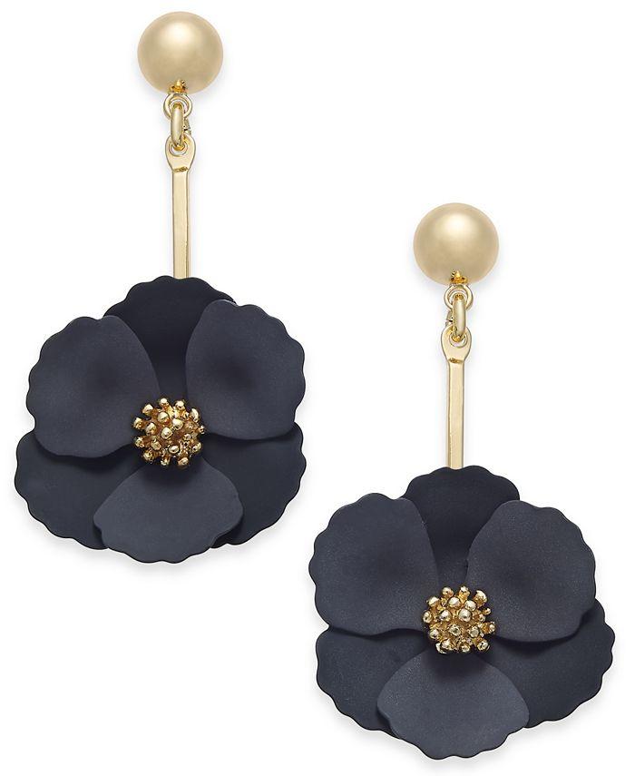 Zenzii - Gold-Tone Painted Flower Drop Earrings