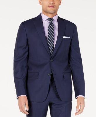 Men's Modern-Fit Indigo Plaid Suit Jacket