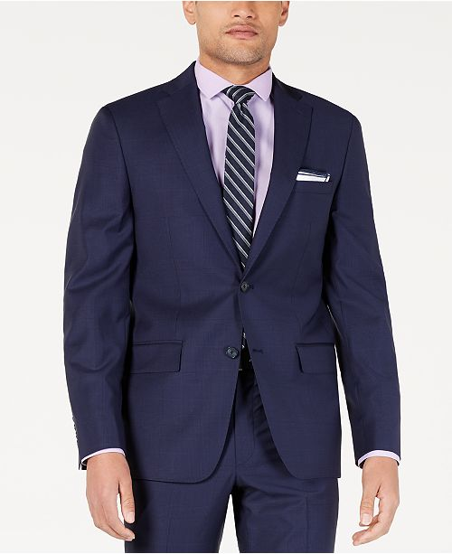 DKNY Men's Modern-Fit Indigo Plaid Suit Jacket