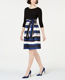 Jessica Howard Striped-Skirt Fit & Flare Dress