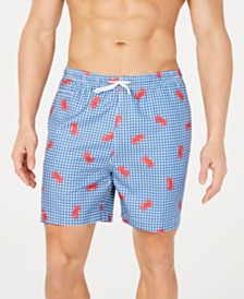 "Trunks Surf & Swim Co. Men's Plaid Crab-Print 6"" Volley Swim Trunks, Created for Macy's"
