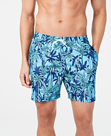 "Men's Palm Tree-Print 6"" Volley Swim Trunks, Created for Macy's"