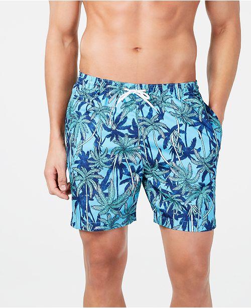 "Trunks Surf & Swim Co. Men's Palm Tree-Print 6"" Volley Swim Trunks, Created for Macy's"