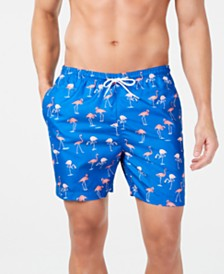 "Trunks Surf & Swim Co. Men's Flamingo Printed 6"" Volley Swim Trunks, Created for Macy's"