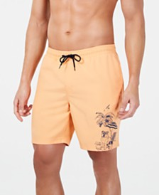 "Club Room Men's Quick-Dry Performance Bulldog Beach-Print 7"" Swim Trunks, Created for Macy's"