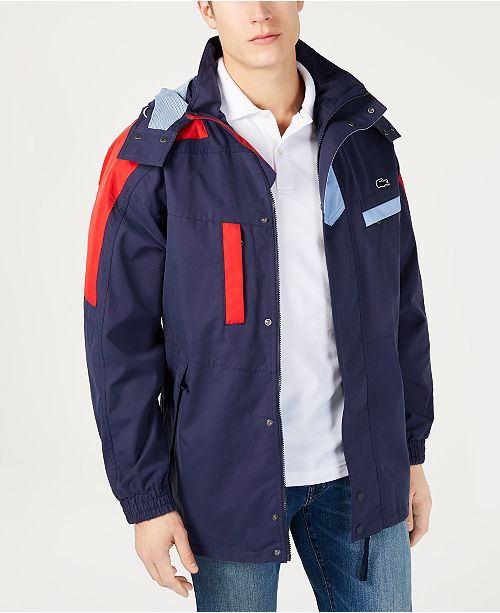 Lacoste Men's Colorblocked Yachting Parka with Removable Hood