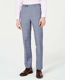 Calvin Klein Men's X-Fit Slim-Fit Natural Stretch Blue Plaid Suit Pants
