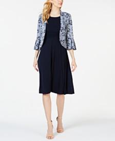 Jessica Howard Petite Printed Jacket & A-line Dress