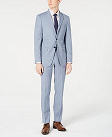 Calvin Klein Men's X-Fit Slim-Fit Light Blue Sharkskin Suit Separates