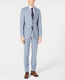 Calvin Klein Men's X-Fit Slim-Fit Light Blue Sharkskin Suit Separates