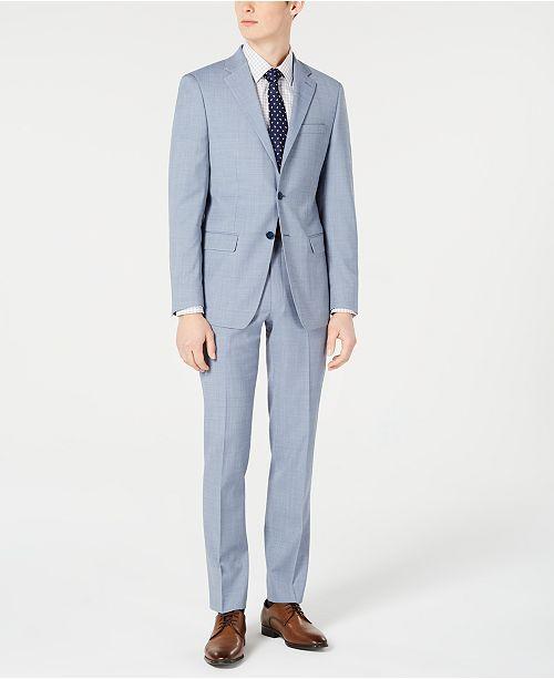 many styles detailed images quite nice Calvin Klein Men's X-Fit Slim-Fit Light Blue Sharkskin Suit ...