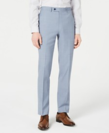 Calvin Klein Men's X-Fit Slim-Fit Light Blue Sharkskin Suit Pants