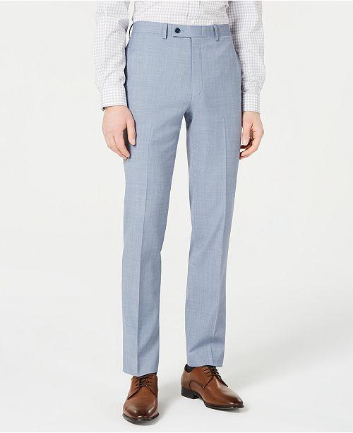 Calvin Klein Men's X-Fit Slim-Fit Light Blue Sharkskin Suit Pants