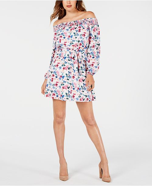 GUESS Vella Printed Off-The-Shoulder Dress
