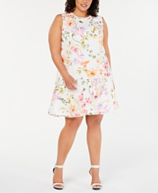 Calvin Klein Plus Size Floral-Print Shift Dress
