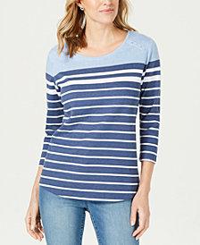 Karen Scott Striped Colorblocked Top, Created for Macy's
