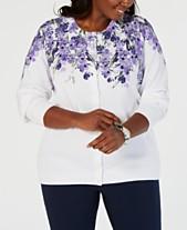 ab78637348 Karen Scott Plus Size Floral-Print Cardigan