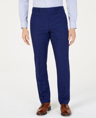 Men's Classic-Fit UltraFlex  Stretch Navy Plaid Suit Pants
