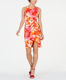 Taylor Petite Floral Printed Wrap Sheath Dress
