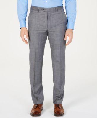 Men's Classic-Fit UltraFlex  Stretch Gray/Blue Windowpane Suit Pants