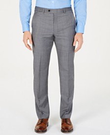 Lauren Ralph Lauren Men's Classic-Fit UltraFlex  Stretch Gray/Blue Windowpane Suit Pants
