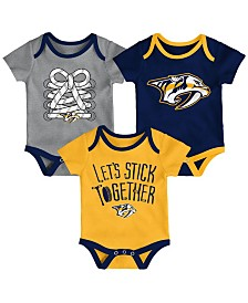 Outerstuff Nashville Predators Five On Three Creeper 3 Pc Set, Infants (0-9 Months)