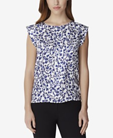 Tahari Petite Printed Smocked-Back Top