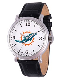 Gametime NFL Miami Dolphins Men's Shiny Silver Vintage Alloy Watch