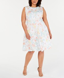 fe06e20f880 Calvin Klein Plus Size Floral-Print Fit and Flare Dress