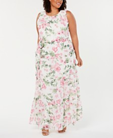 Jessica Howard Plus Size Ruffled Floral Maxi Dress