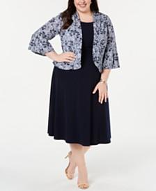 Jessica Howard Plus Size Dress & Printed Bell-Sleeve Jacket