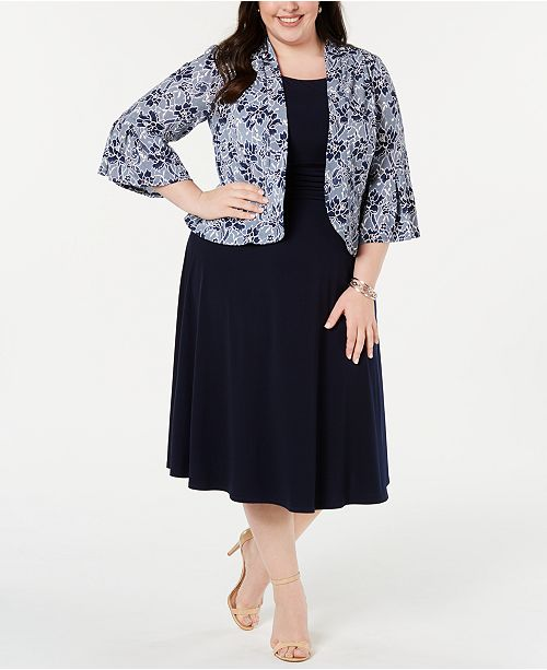 Jessica Howard Plus Size Dress & Printed Bell-Sleeve Jacket