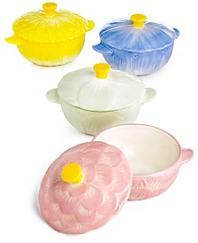 Martha Stewart Collection Set of 4 Floral Cocottes, Created for Macy's