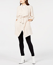 GUESS Tula Drape-Front Belted Jacket