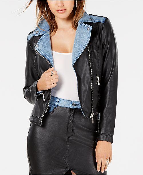 GUESS Tarra Rebel Faux-Leather Moto Jacket