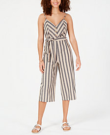 Rosie Harlow Juniors' Striped Cropped Jumpsuit, Created for Macy's