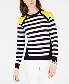 Tommy Hilfiger Colorblocked Striped Cotton Sweater