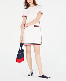 Tommy Hilfiger Striped-Trim Zip-Back Dress, Created for Macy's