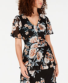 American Rag Juniors' Printed Tie-Back Flutter-Sleeved Blouse, Created for Macy's