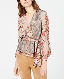I.N.C. Printed Peplum Wrap Blouse, Created for Macy's