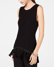 I.N.C Fringe-Trim Sleeveless Sweater, Created for Macy's