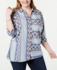 NY Collection Plus Size Southwestern-Print Shirt