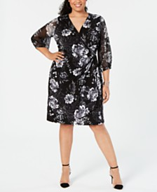 I.N.C. Plus Size Printed Faux-Wrap Dress, Created for Macy's