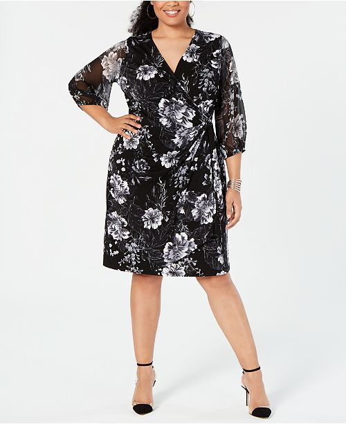 I.N.C. Plus Size Printed Faux-Wrap Dress, Created for Macy\'s