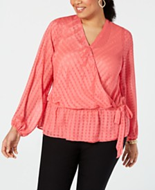 I.N.C. Plus Size Textured Faux-Wrap Top, Created for Macy's