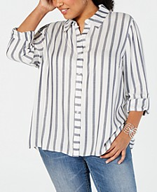 INC Plus Size Metallic-Stripe Shirt, Created for Macy's